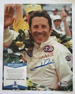 Mario Andretti Indy 500 signed 8x10 photo coa beckett Bas #t97202 auto