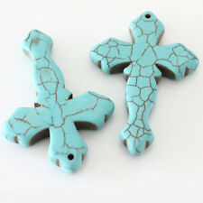 2Pcs Green Turquoise Cross Shape Pendant Charm Handcraft Jewelry Findings 45*9mm
