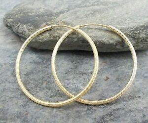 14ct Gold Filled TEXTURED HOOP 30mm 14k Earrings E725~Silverwave*uk Jewellery