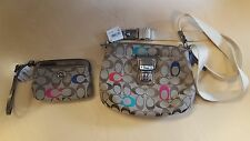 COACH POPPY EMBROIDERED SIGNATURE SWINGPACK PURSE AND WALLET f48425 NEW NWT