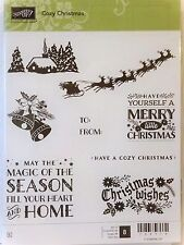 Stampin Up COZY CHRISTMAS clear mount stamps NEW Sleigh bells Season wishes