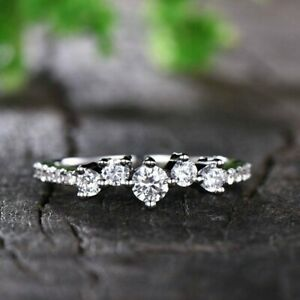 14K White Gold Over Dainty 0.70 CT Diamond Minimalist Cluster Band Ring