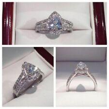 Ladies Pear Diamond Cut 14K White Gold Finish 2.00 CT Engagement Wedding Ring
