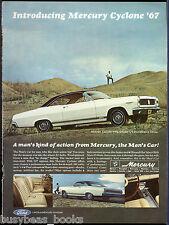 1967 MERCURY CYCLONE advertisement, white 2-door hardtop