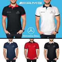 Mercedes Benz AMG Polo T Shirt EMBROIDERED Auto Car Logo Mens Clothing Cotton