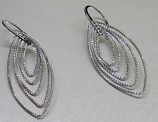 Multi-Diamond Cut in Sterling Silver Pointed Ovals Hook-in Drop Design Earrings