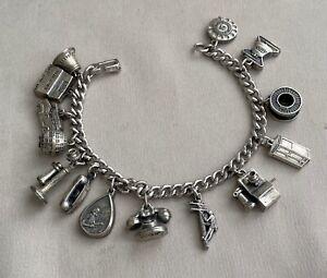 BELL TELEPHONE Vintage Sterling Silver Attendance Award 14 Charm Bracelet;L666