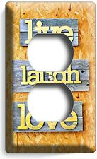 LIVE LAUGH LOVE RUSTIC WOODEN DESIGN DUPLEX OUTLET WALL PLATE COVER ROOM DECOR