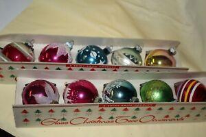Vintage 2 Cradles 10 Shiny Brite Mercury Glass Holiday Christmas Ornaments
