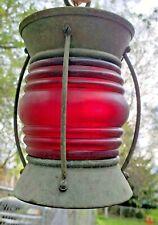 New listing Vintage Red Glass Globe Ship Boat Lantern Light Hanging Lamp Maritime Nautical