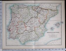 1904 LARGE MAP SPAIN & PORTUGAL BALEARIC ISLES ~ MADRID NEW CASTILE MALAGA