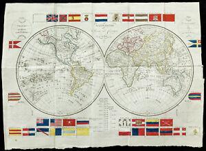 1820 - Selten Mappemonde. landkarte Geografische Antik François Robert