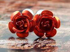 RED ROSE CUFFLINKS Metal Enamel Flower Floral Wedding Party Groom