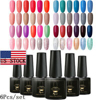 6Bottles/Set MTSSII 6ml UV Gel Nail Polish Soak Off Varnish Manicure US STOCK