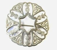 VINTAGE MALCOLM GRAY ORTAK ORKNEY SILVER SCOTTISH THISTLE BROOCH Gift Boxed