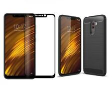 For Xiaomi Pocophone F1 Case Carbon Cover & Full Glass Screen Protector