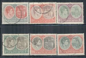 ST. KITTS-NEVIS 82a-88a SG71-77 Used 1938 KGVI Defin Perf 13X12 set of 6 Cat$52