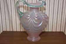 Fenton Pink Opalescent Satin Drape Pitcher with light green handle