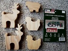 Vintage Westrim Country Collection 5 Unfinished Pre-Cut Wood Candle Holders