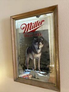 1991 Miller High Life Beer Bar Mirror Timber Wolf Wisconsin Wildlife Series 1 EC