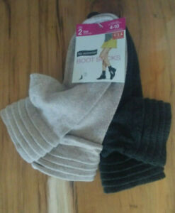 No Nonsense BOOT SOCKS Sz 4-10 Low Tiered Cuff Charcoal Beige 2 Pack
