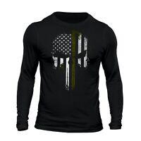 Thin Green Line Flag Skull USA Army Patriotic Men's Long Sleeve T-Shirt