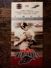2002 Ottawa Renegades Inaugural Season Ticket stub - Game 2