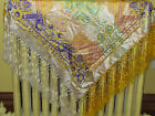 Vintage Silk Piano Scarf Silk Fringed Vintage Taj Mahal Brocade Shawl Golden