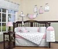 Pink Gray Chevron 13 pcs Crib Bedding Set Baby Girl Nursery Quilt Bumper Diaper