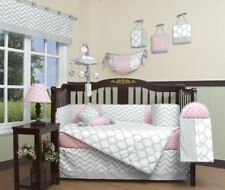 Pink Gray Chevron 13 pcs Crib Bedding Set Baby Girl Nursery Quilt Bumper Diaper