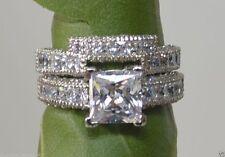 3.68 cts Princess Cut Diamond Engagement Ring Wedding Band Solid 14k White Gold