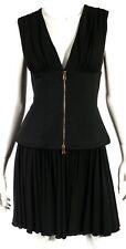 ALEXANDER McQUEEN Black Jersey Zip Corset Waist Detail Cocktail Dress 40