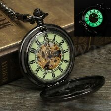 Mechanical Luminous Skeleton Automatic Steampunk Mens Pocket Watch Vintage Black