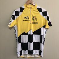 2012 Ride To Cure Checkered Cycling 1/4 Zipper Jersey Shirt Yellow Mens XL