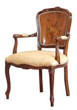 Sessel mit Intarsie in der Rücklehne, Naturholz und Stoff, Neu aus Italien