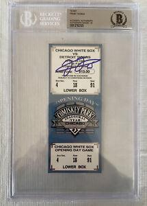 1991 Comiskey Park Inaugural Sox Opening Day Frank Thomas Signed Ticket Beckett