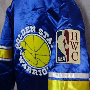 Mitchell & Ness GOLDEN STATE WARRIORS Heavyweight Satin Full Zipper Blue Jacket
