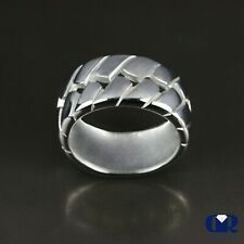 Men's 14K Solid White Gold Weave Style Wedding Band Ring Pinky Ring
