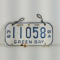 Original 63-64 GREEN BAY Bicycle License Plate 1963 1964 Vintage
