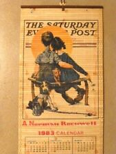 "Norman Rockwell 1983 Calendar, Double-Sided Art, 33"" x 12 1/2"", Balsa Wood Slats"