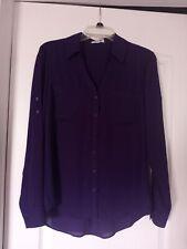Express The Portofino Shirt Classic Button Down Blouse Top Deep Purple Medium M