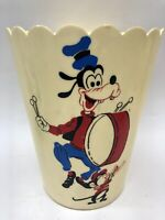 RARE Vtg Walt Disney World Mickey Mouse Donald Duck Goofy-Plastic Trash Can 11x9