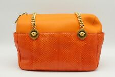 004d039d021a Versace Orange Leather And Snakeskin Double Handle Chain Strap Shoulder Bag