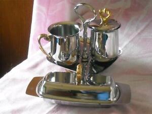 Vintage Mid Century Kromex Table Set, Sugar, Creamer, Tray & 3PC Butter Dish