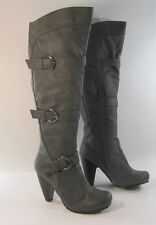 """Gray 4"""" High Heel Round Toe Side Buckles Sexy Knee Boots Size 5.5"""
