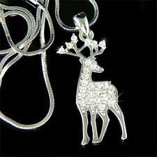 w Swarovski Crystal Bull ELK Hunt Hunting Antlers deer Pendant Necklace NEW Xmas