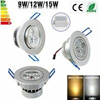 Dimmable 9W 12W 15W LED Ceiling Recessed Down Light Fixture Lamp Light & Driver