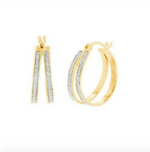Ladies gold Hoop Earrings Sterling Silver 18mm Valentines Gold Glitter Finish