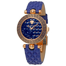 Versace Micro Vanitas Blue Dial Ladies Leather Watch VQM09 0016