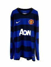 Manchester United Away Shirt 2011. Large Nike. Blue Adults Long Sleeves Top Only